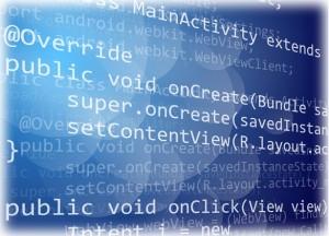 Java programing code on dark background